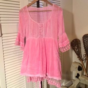 Dresses & Skirts - Pink tie waist dress with crochet and frills